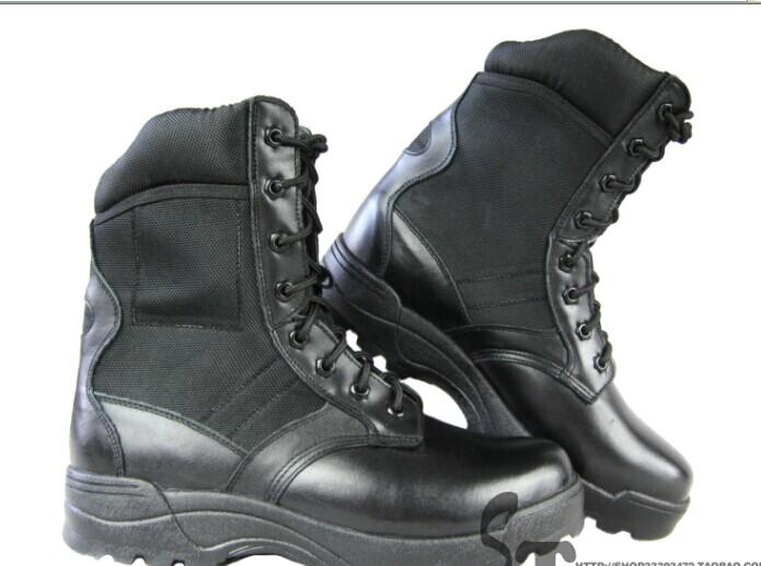 特种兵男女款突击靴 真牛皮透气特勤作战靴 黑色耐磨橡胶底中筒靴