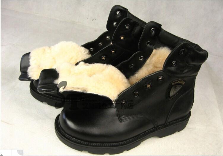 11833 真皮秋冬保暖军靴,男士圆头短筒耐磨,真皮软面羊毛皮靴